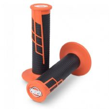 HANDLEBAR GRIP CLAMP ON HALF WAFFLE ORANGE/BLACK